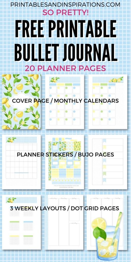 Free Printable Bullet Journal - Lemon Printable Planner Template #printablesandinspirations #bulletjournal #planneraddict #freeprintable