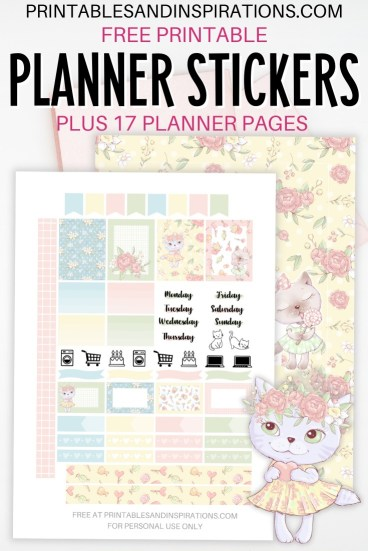 Free Printable Planner Stickers - Cute Cats #catlover #printablesandinspirations #freeprintable