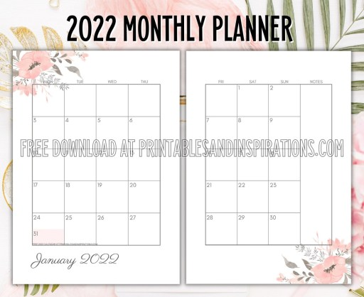 2022 Monthly Planner - free printable 2 page calendar spread #printablesandinspirations - SEE PREVIOUS POST TO DOWNLOAD THE COMPLETE 2022 PLANNER