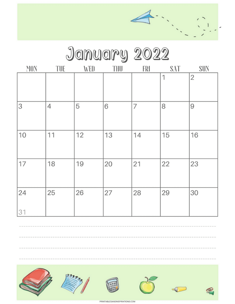January 2022 student calendar - SEE PREVIOUS POST TO DOWNLOAD THE FREE STUDENT PLANNER #printablesandinspirations