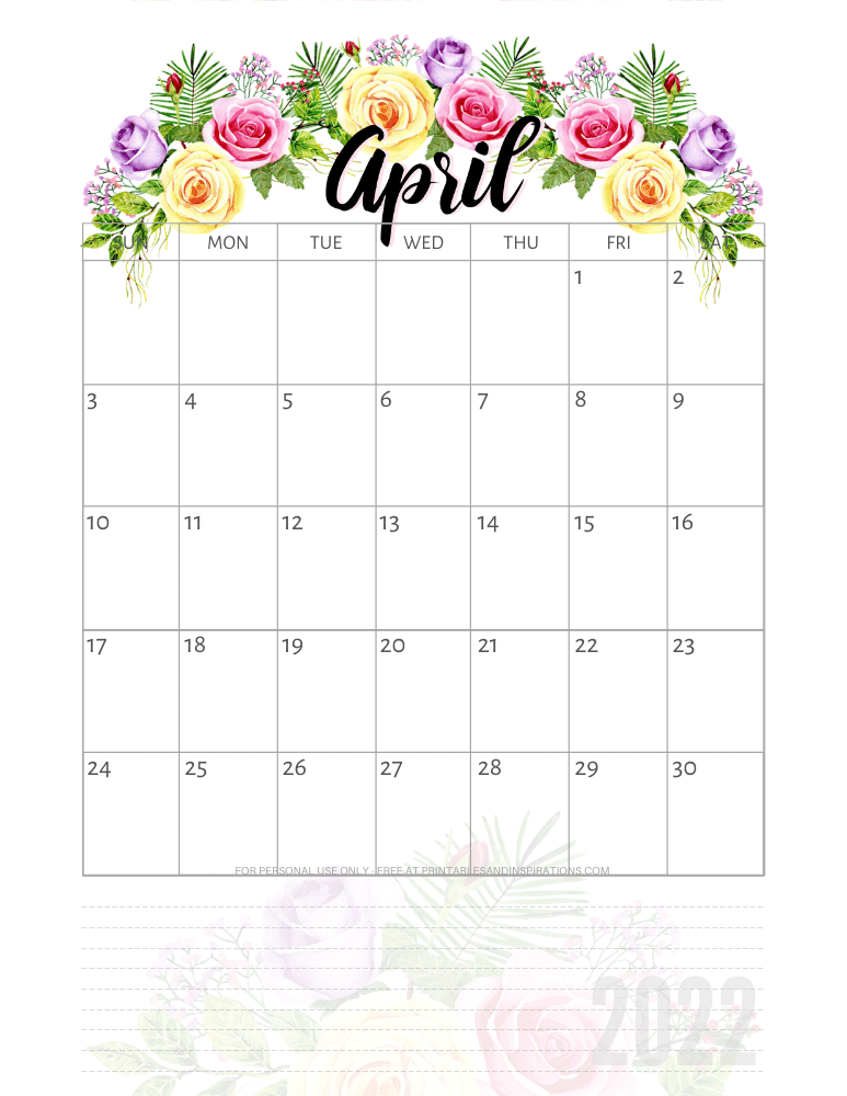 April 2022 pretty calendar - free printable monthly planner with roses #printablesandinspirations - SEE PREVIOUS POST TO DOWNLOAD THE COMPLETE 2022 CALENDAR