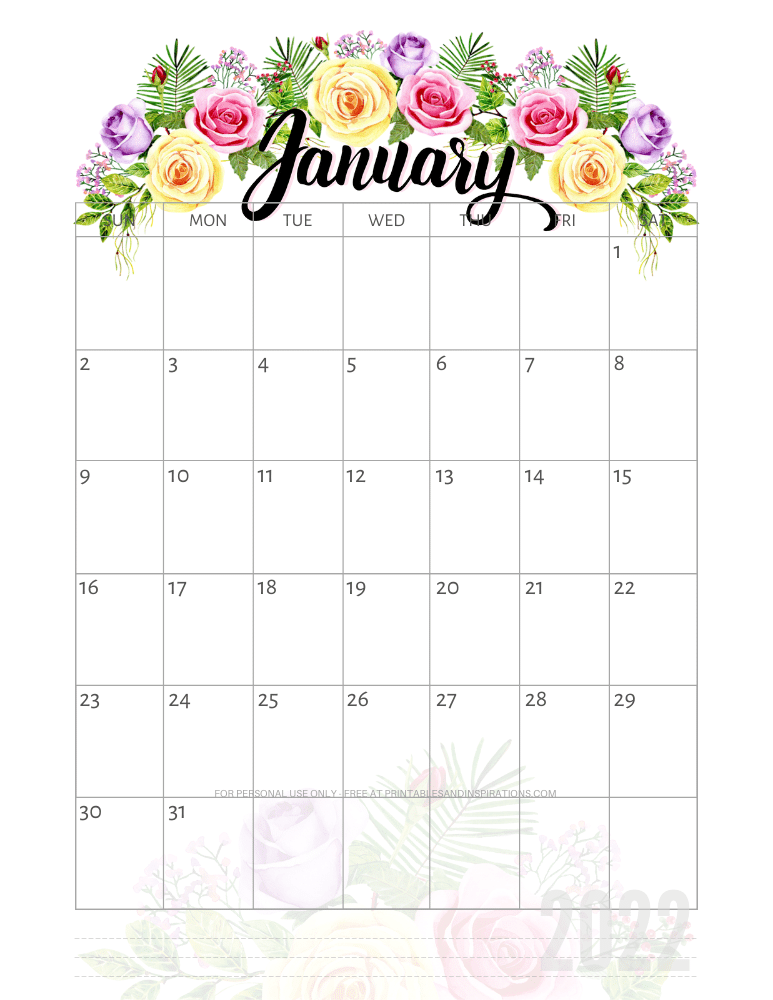 January 2022 pretty calendar - free printable monthly planner with roses #printablesandinspirations - SEE PREVIOUS POST TO DOWNLOAD THE COMPLETE 2022 CALENDAR