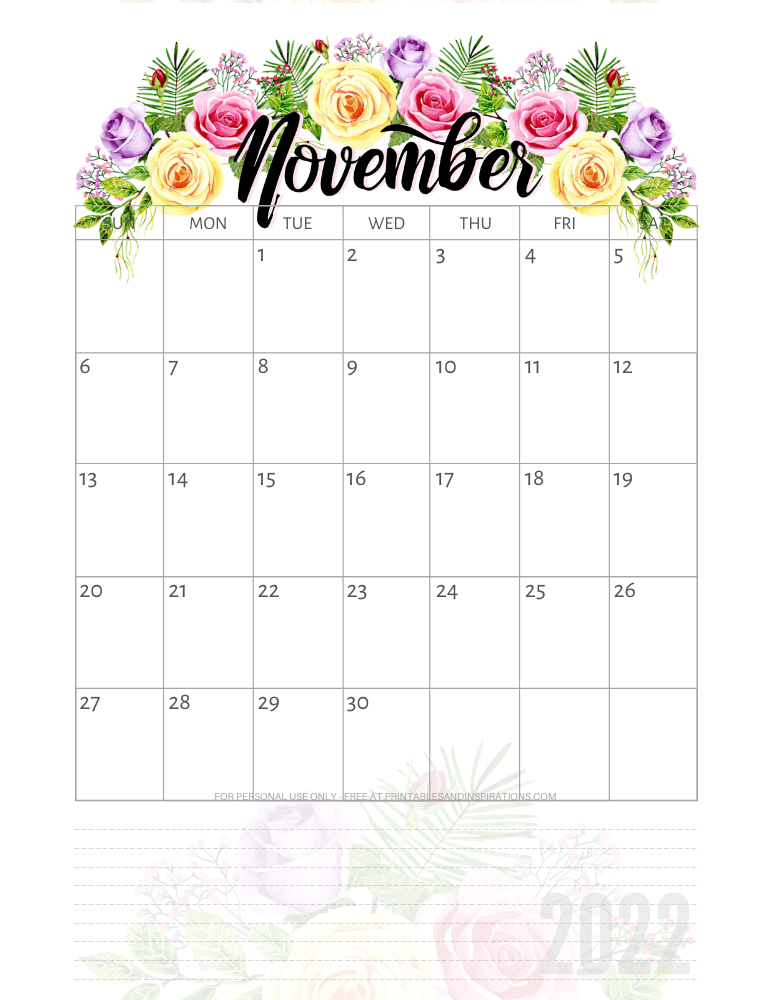 November 2022 pretty calendar - free printable monthly planner with roses #printablesandinspirations - SEE PREVIOUS POST TO DOWNLOAD THE COMPLETE 2022 CALENDAR
