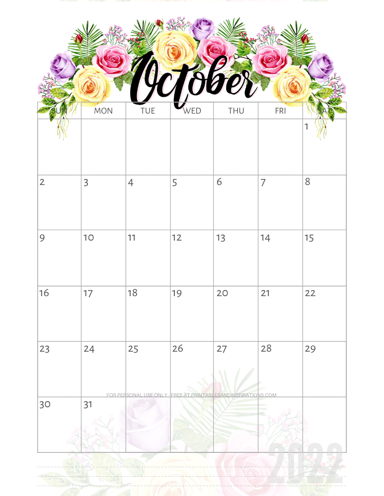 October 2022 pretty calendar - free printable monthly planner with roses #printablesandinspirations - SEE PREVIOUS POST TO DOWNLOAD THE COMPLETE 2022 CALENDAR