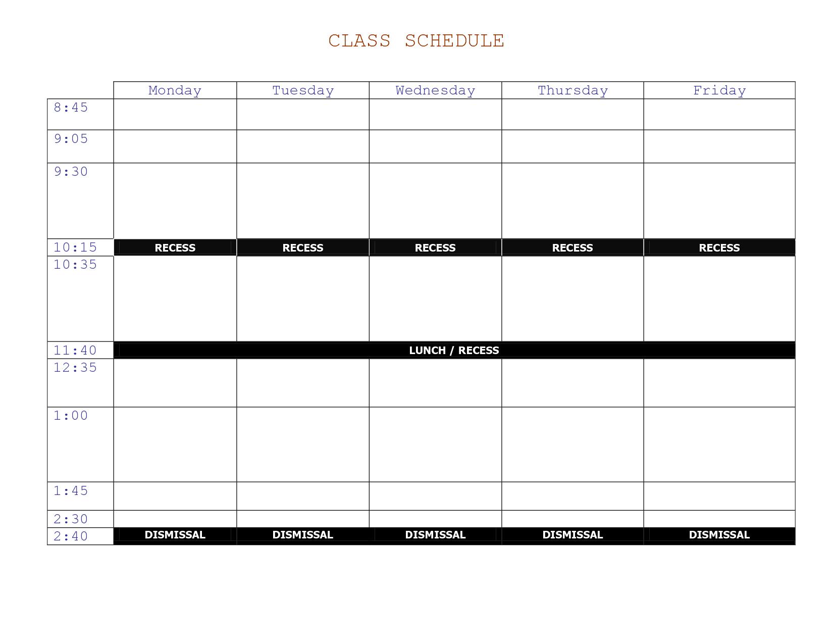 Class Schedule Template Online Printable Schedule Template