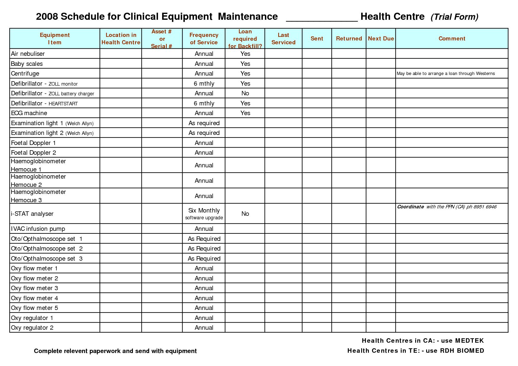 Equipment Maintenance Schedule Template Excel Printable Schedule Template