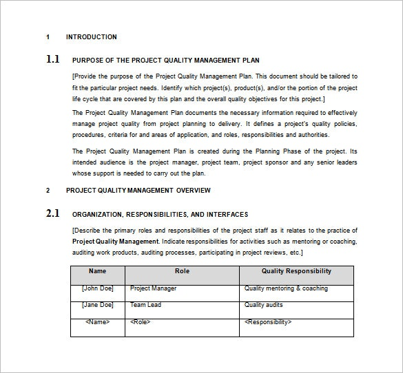 Quality Plan Template Project Management – printable ...