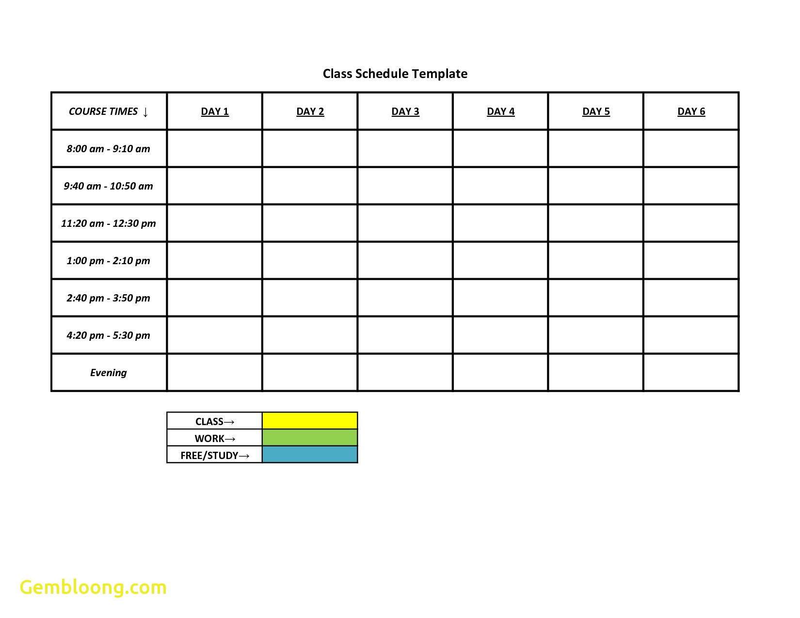 Schedule Availability Template Printable Schedule Template
