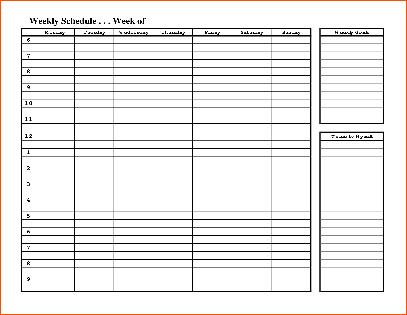 Schedule Template Free Printable