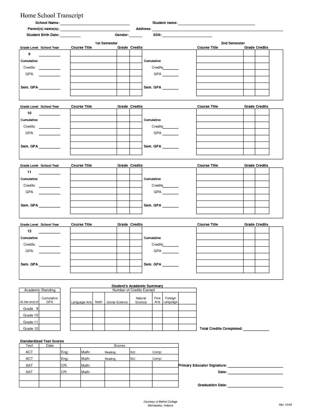 Template For Homeschool High School Transcript Printable