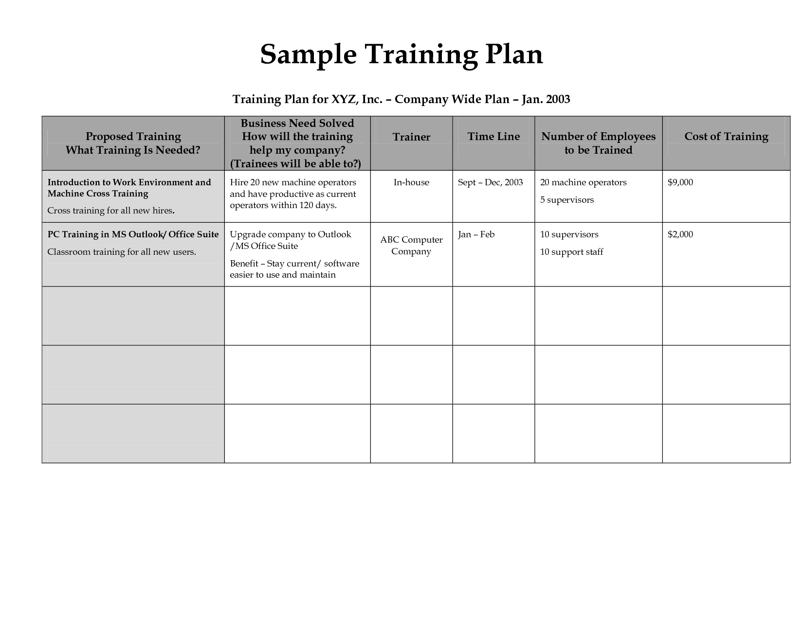 Training Schedule For Employees Template Printable