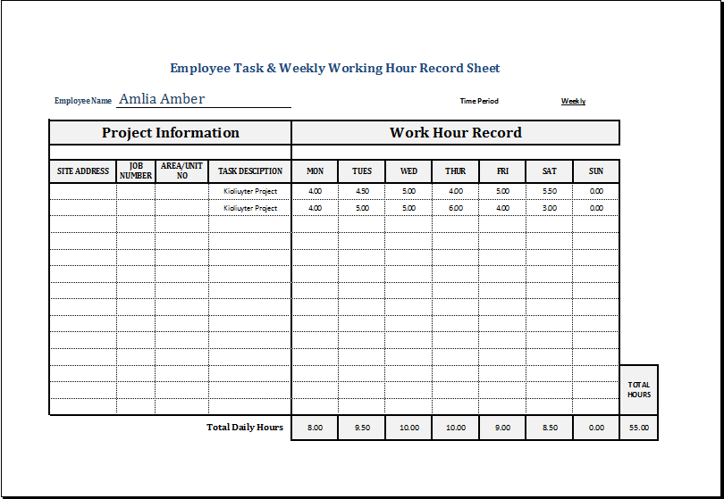 Work Hours Template Excel Printable Schedule Template