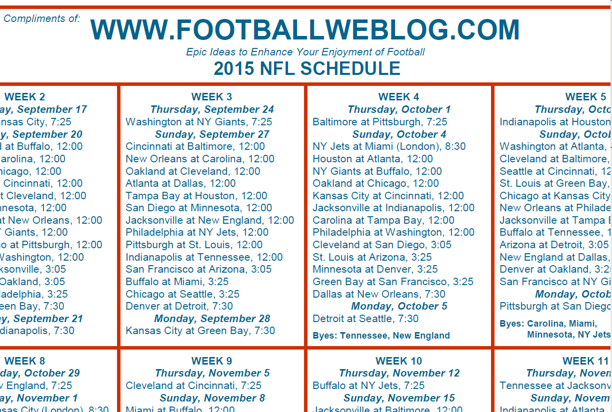 Printable One Page Nfl Schedule Printabletemplates