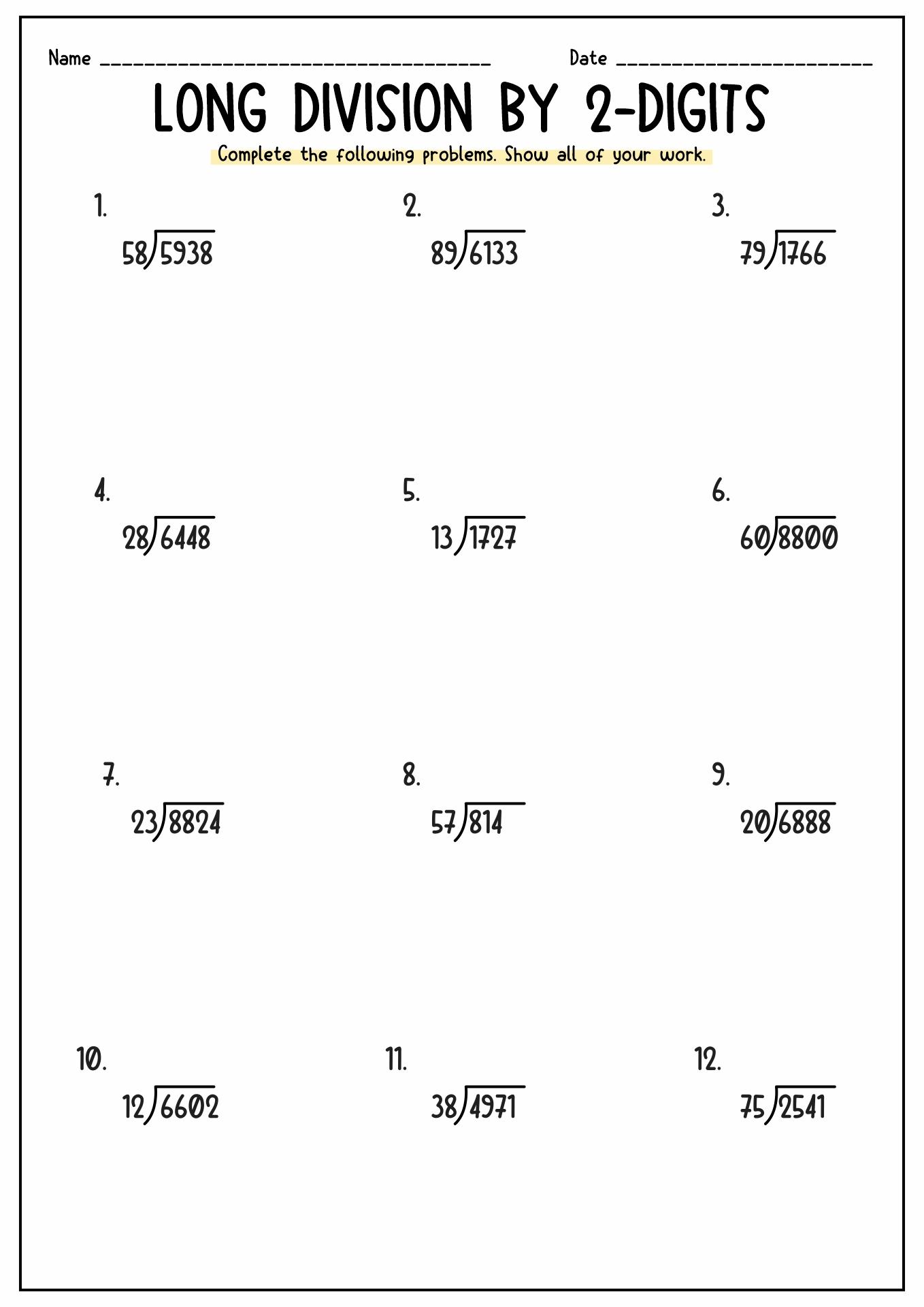 Free Printable Long Division Worksheets 5th Grade