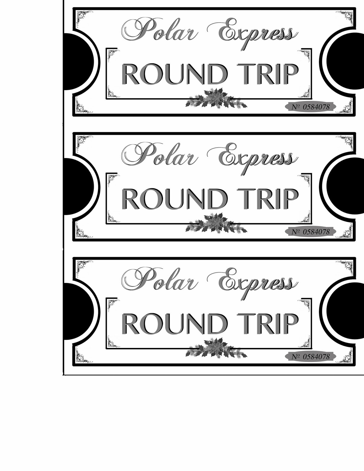 Printable Polar Express Tickets Boarding Passes