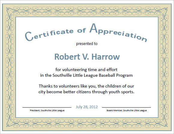 certificate of appreciation word template