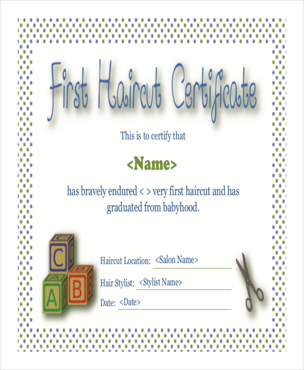 first haircut certificate - free download