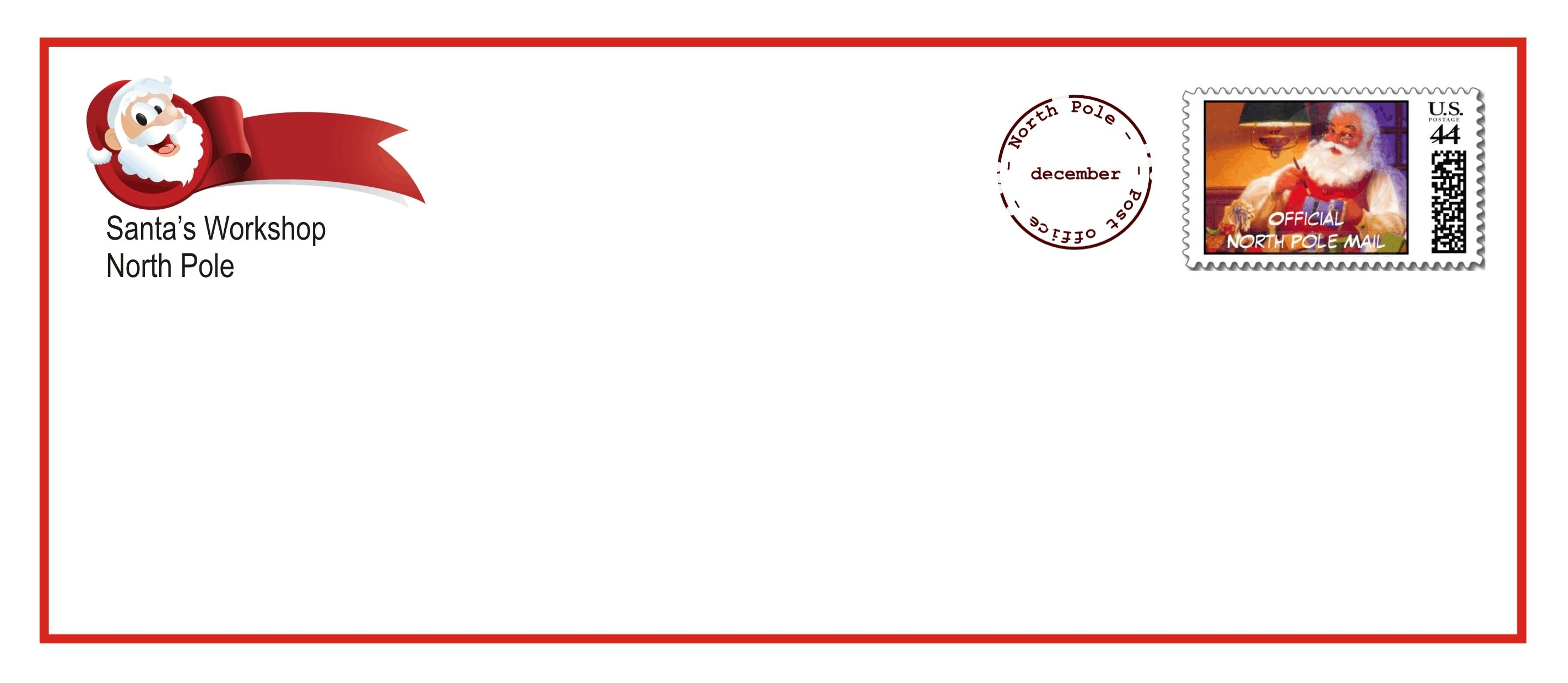 image about Free Printable North Pole Special Delivery Printable called No cost Printable Santa Envelopes - Cost-free Down load