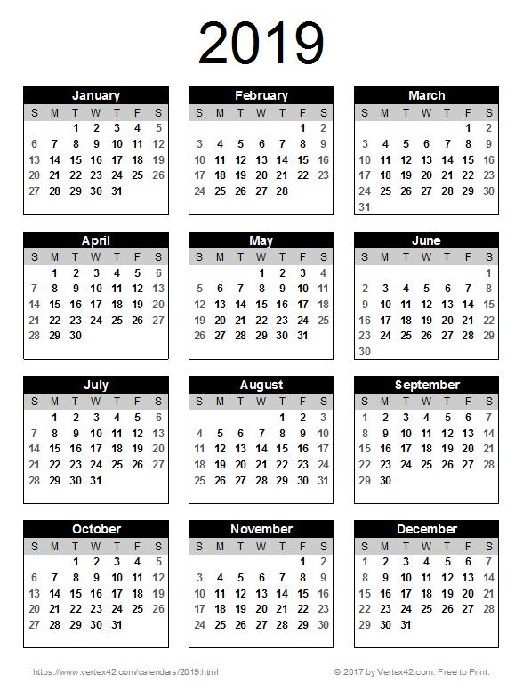 2019 Year Calendar