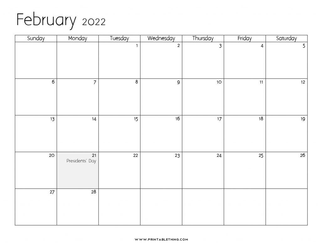 Make a visit consistent with this calendar. 20+ February 2022 Calendar | Printable, PDF, US Holidays ...