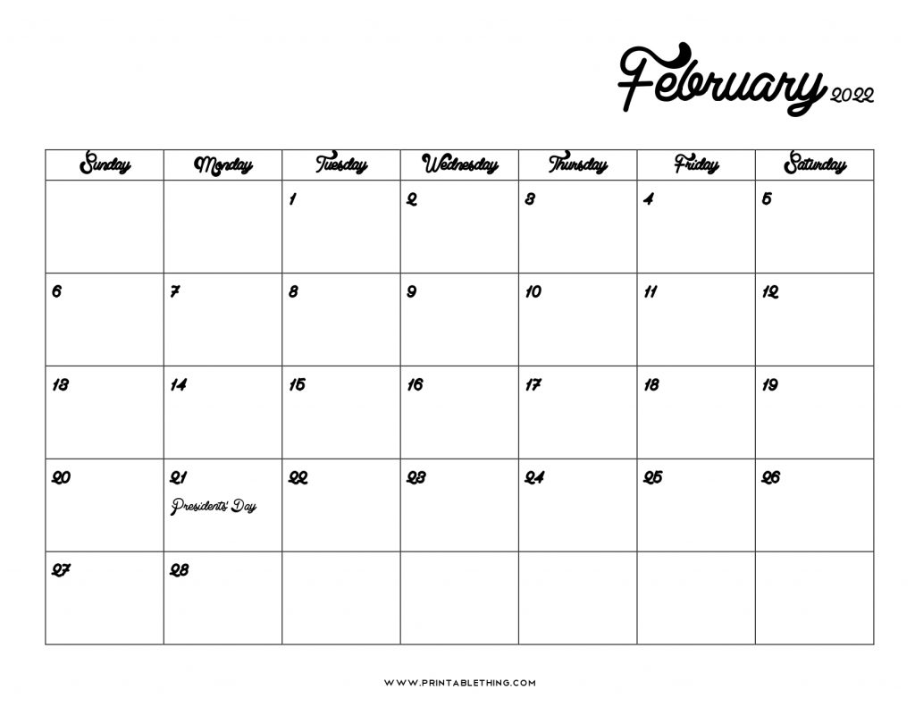 You can budget both your money and your time by making a. 20+ February 2022 Calendar   Printable, PDF, US Holidays ...