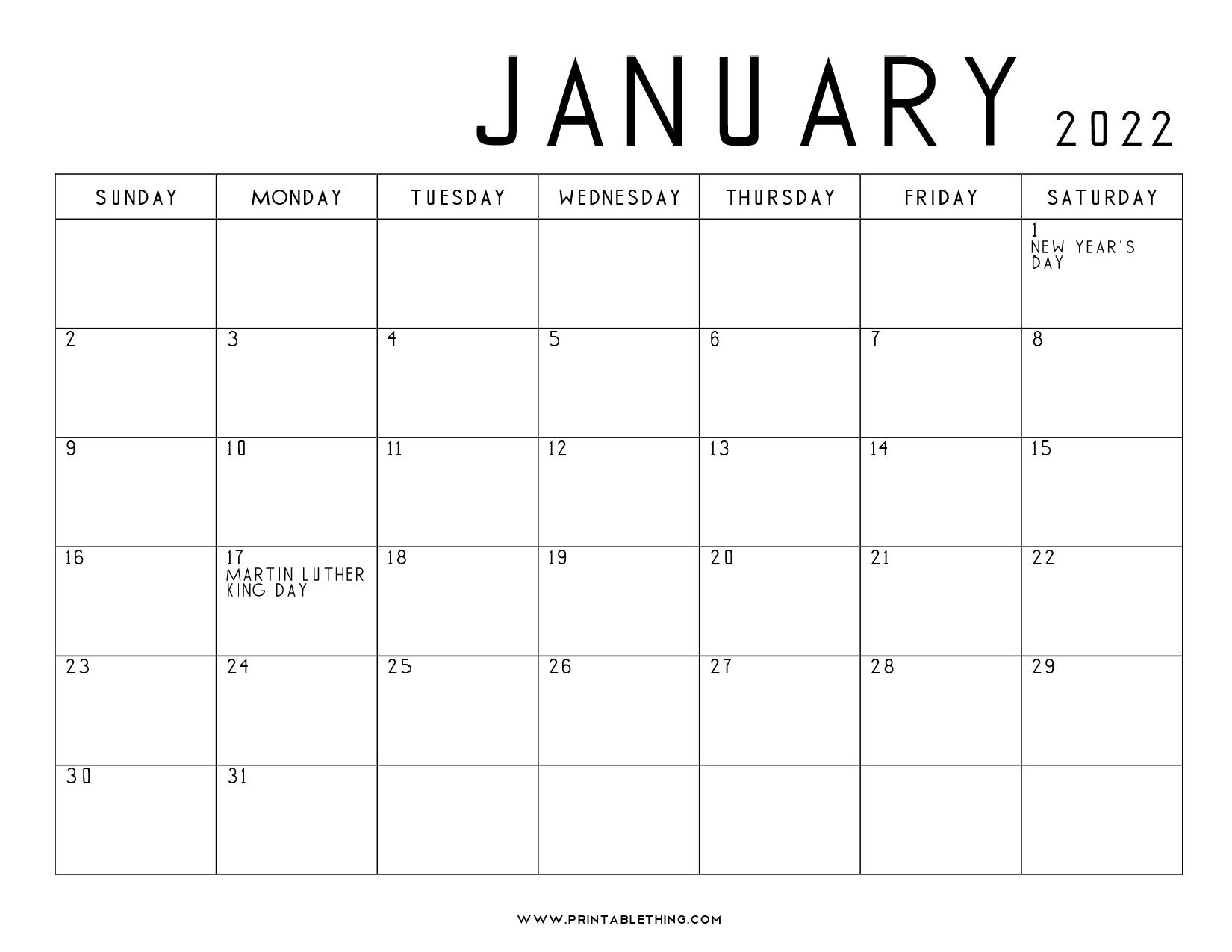 The yearly calendars with full year of 2022 on a separate page and fits well into both letter and legal paper size. 20+ January 2022 Calendar | Printable, PDF, US Holidays ...