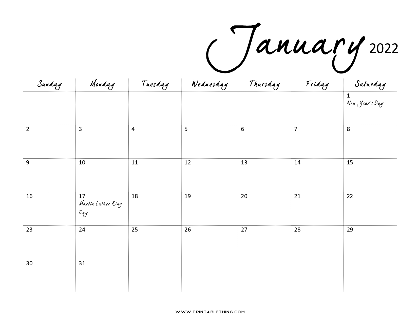 Downloads are subject to this sites term of use. 20+ January 2022 Calendar   Printable, PDF, US Holidays ...