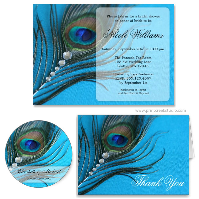 Jewel Peacock Feather Bridal Shower Invitation Print