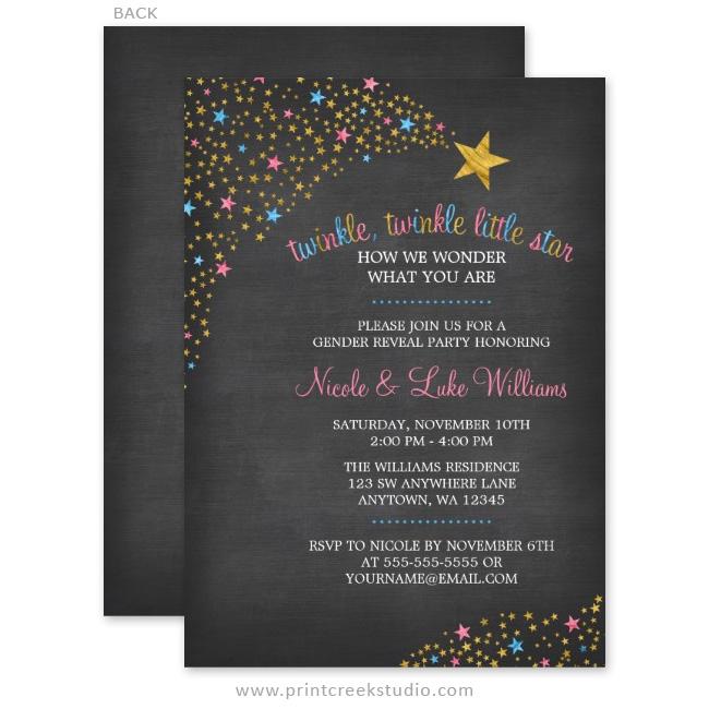 Twinkle Little Star Chalkboard Gender Reveal Invitations