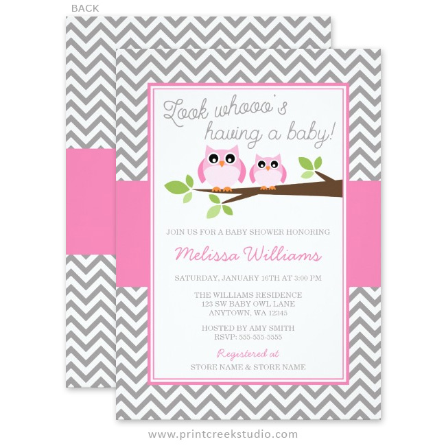 Pink Owl Gray Chevron Baby Shower Invitations Print