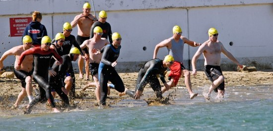Latex Swimming Caps being worn by open water swimmers