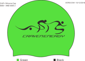 Super electric green swimming cap mock up. With Craven Energy in black