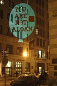 """You are not a loan"" projection, New York, 20 sept 2012."
