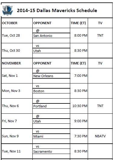 photograph about Utah Jazz Schedule Printable known as Dallas Mavericks - PrinterFriendly