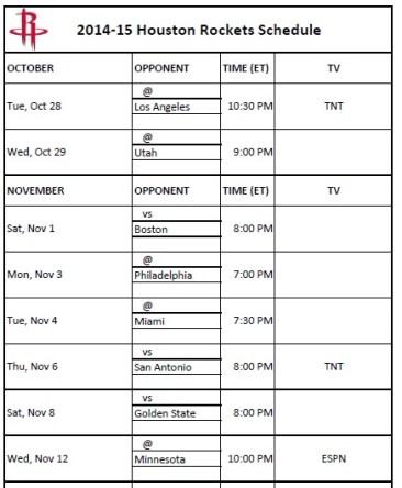 2014-15 Houston Rockets Schedule