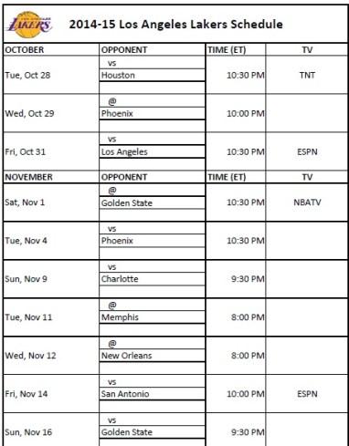 2014-15 Los Angeles Lakers Schedule