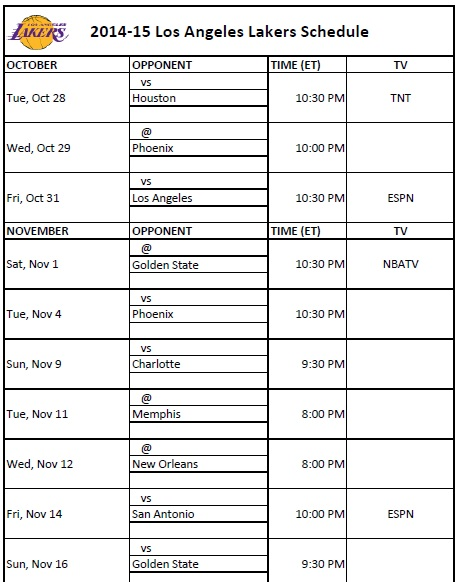 Printable Los Angeles Lakers Schedule for 2014-15