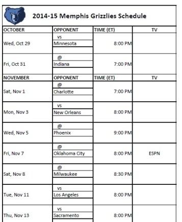 2014-15 Memphis Grizzlies Schedule