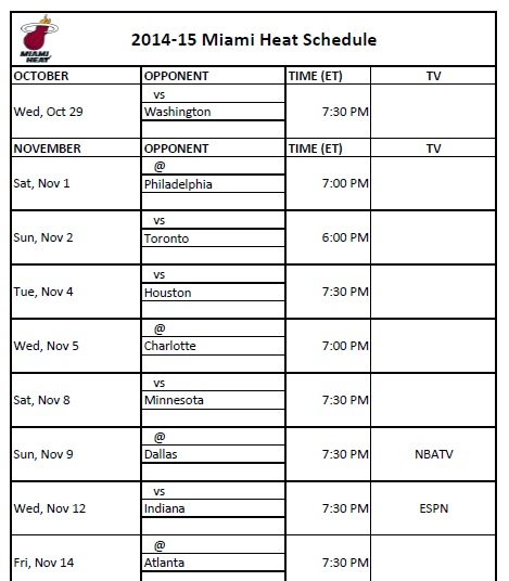 photograph about Cavs Printable Schedule known as Miami Warmth - PrinterFriendly