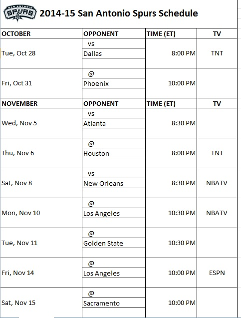It's just an image of Dynamic Spurs Schedule Printable