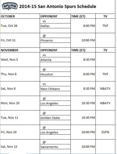 2014-15 San Antonio Spurs Schedule