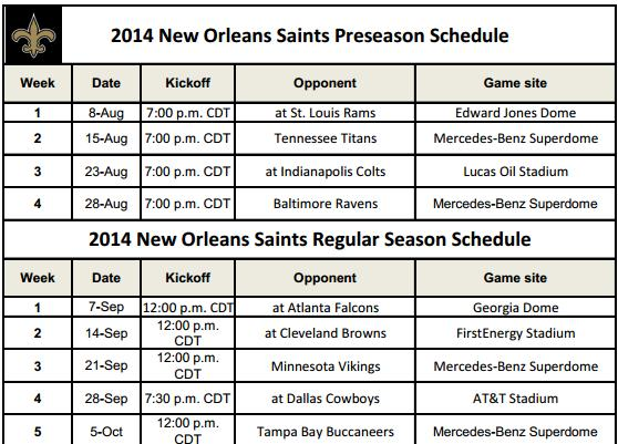 Printable New Orleans Saints Schedule for 2014 NFL Season