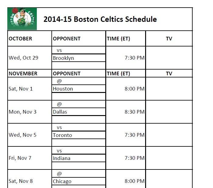 photograph regarding Celtics Printable Schedule identified as Boston Celtics - PrinterFriendly