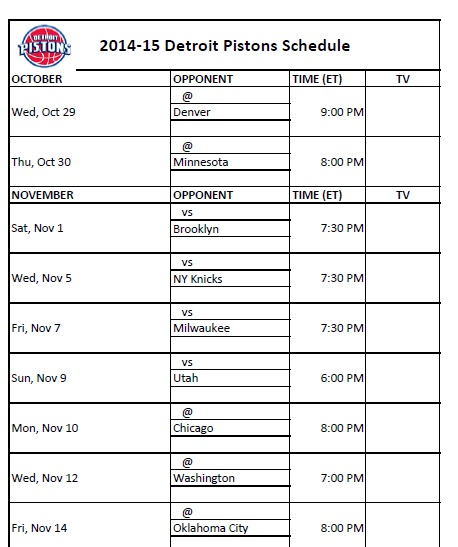 photo regarding Detroit Pistons Printable Schedule identify Detroit Pistons - PrinterFriendly