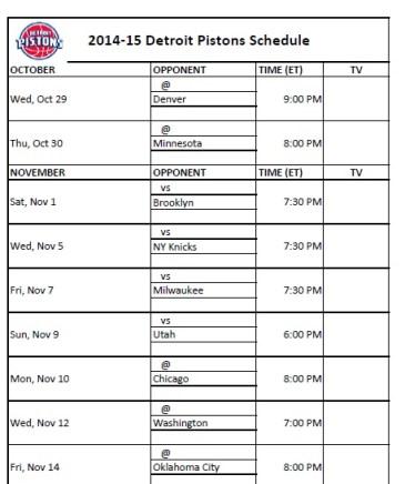 Detroit Pistons Schedule