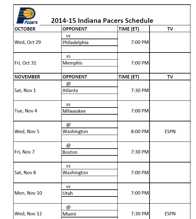 image about Miami Heat Printable Schedule called Indiana Pacers - PrinterFriendly