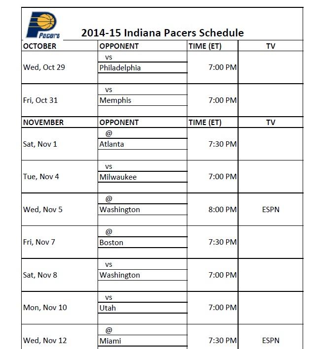 graphic regarding Miami Heat Printable Schedule called Indiana Pacers - PrinterFriendly