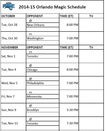 Orlando Magic Schedule