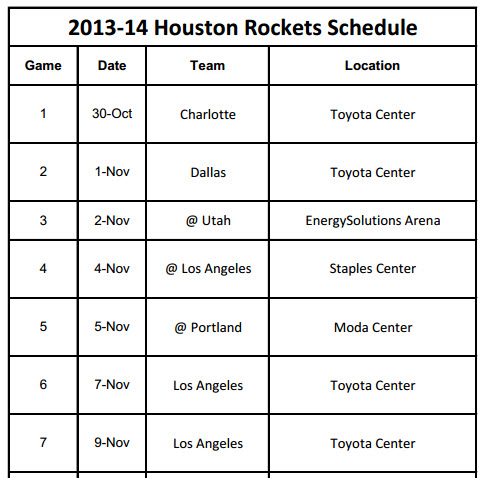 Print Houston Rockets 2013-14 Schedule