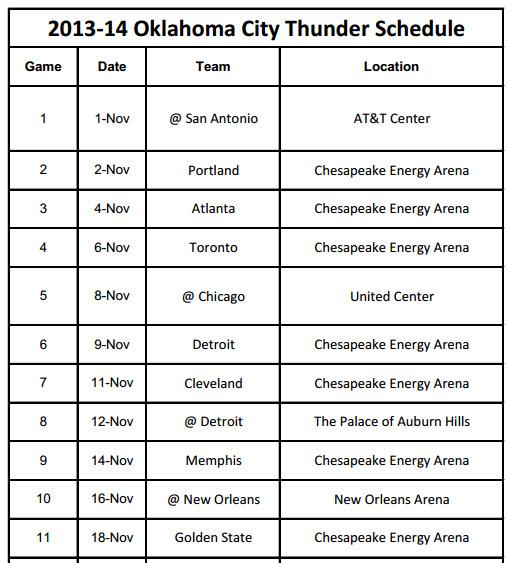 photo about Okc Thunder Printable Schedule named 2013-14 Oklahoma Town Thunder Timetable - PrinterFriendly